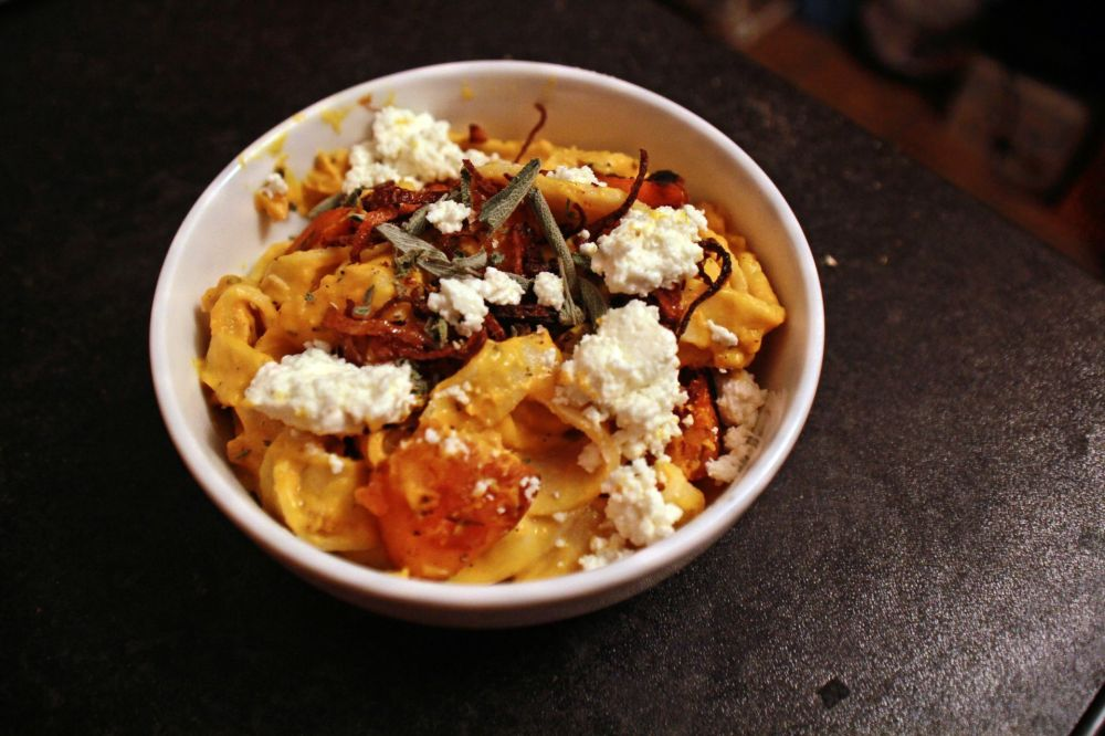 Homemade Fettuccine with butternut squash sauce, sage, crispy shallots and ricotta.